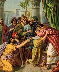 Znalezione obrazy dla zapytania Józef przyjmuje Jakuba i braci w Egipcie
